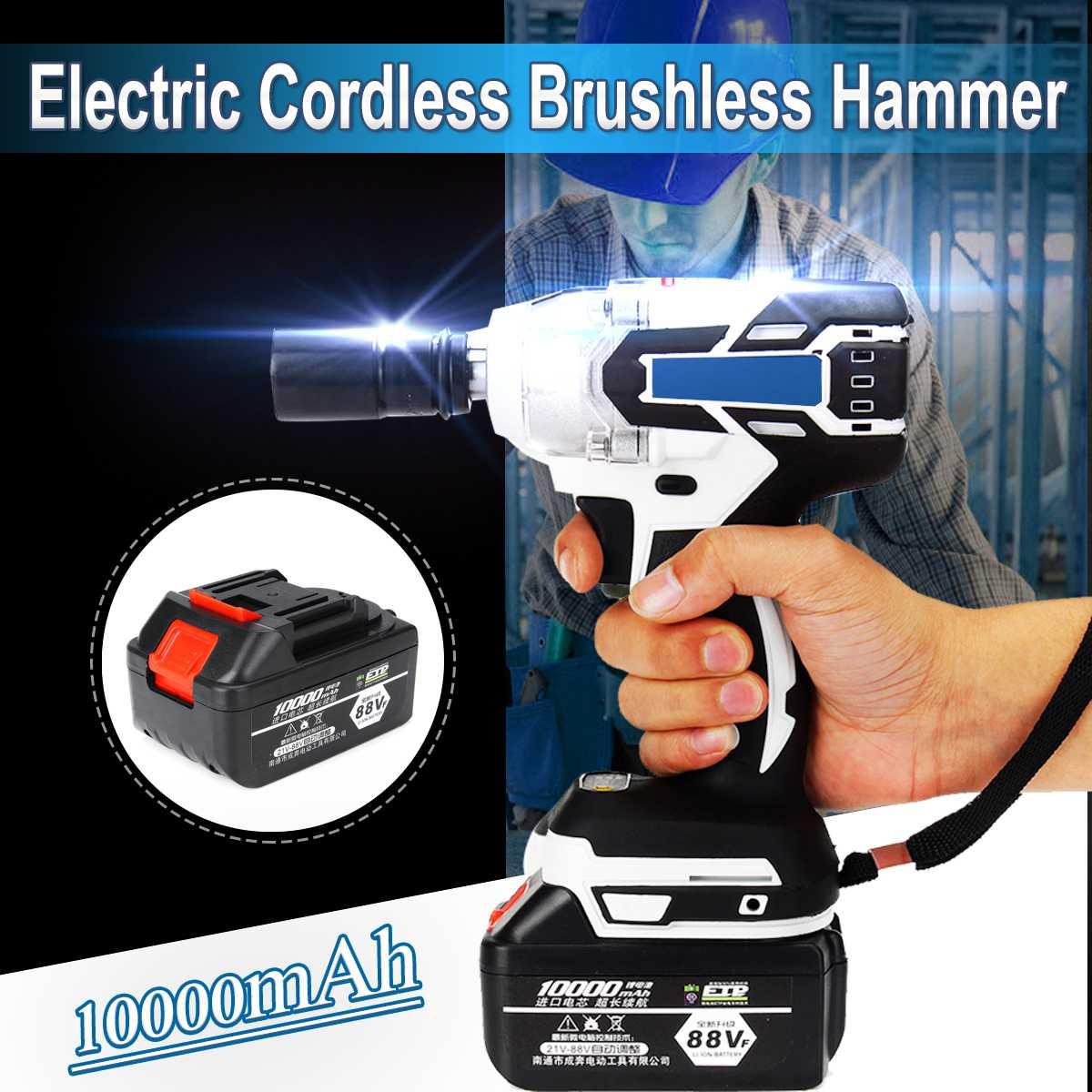3 IN 1 220V Elektrische Auswirkungen Cordless Bürstenlosen Hammer Bohrer Fahrer Hand Bohrer Hammer Power Tool 240-520NM 10000mAh