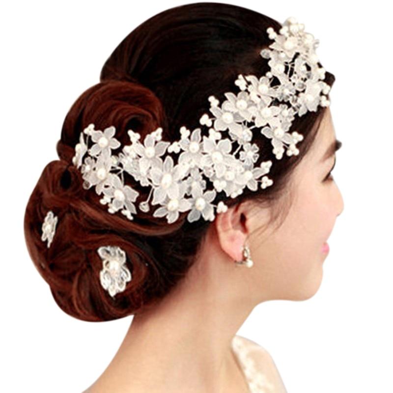 Tocado de novia hecho a mano para dama de honor con cuentas blancas y Flor del pelo