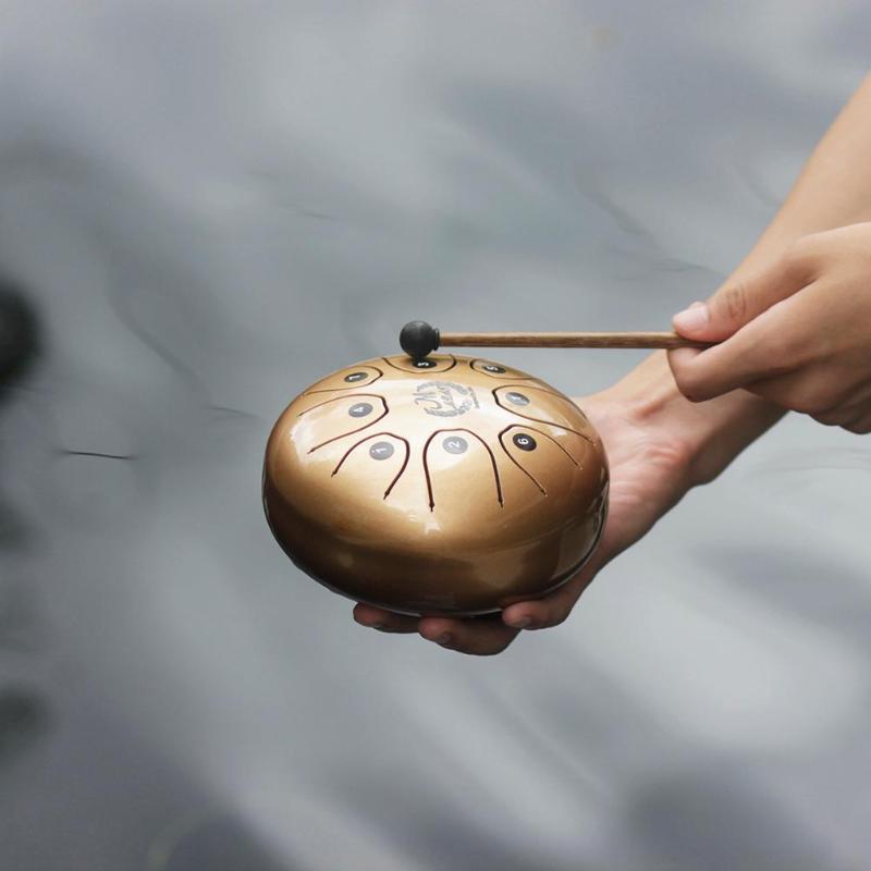 Juego de tambor de lengua de acero inoxidable de 5,5 pulgadas, cacerola de mano, tanque, tambor colgante, instrumentos de percusión con baquetas, bolsa acolchada