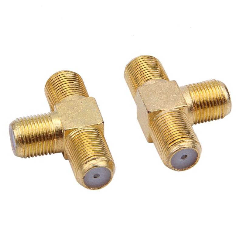2 قطعة F أنثى إلى اثنين F أنثى جاك الثلاثي T RF محول موصل 3 طريقة الخائن لتوصيل كابل محوري الاستخدام. الذهب لهجة