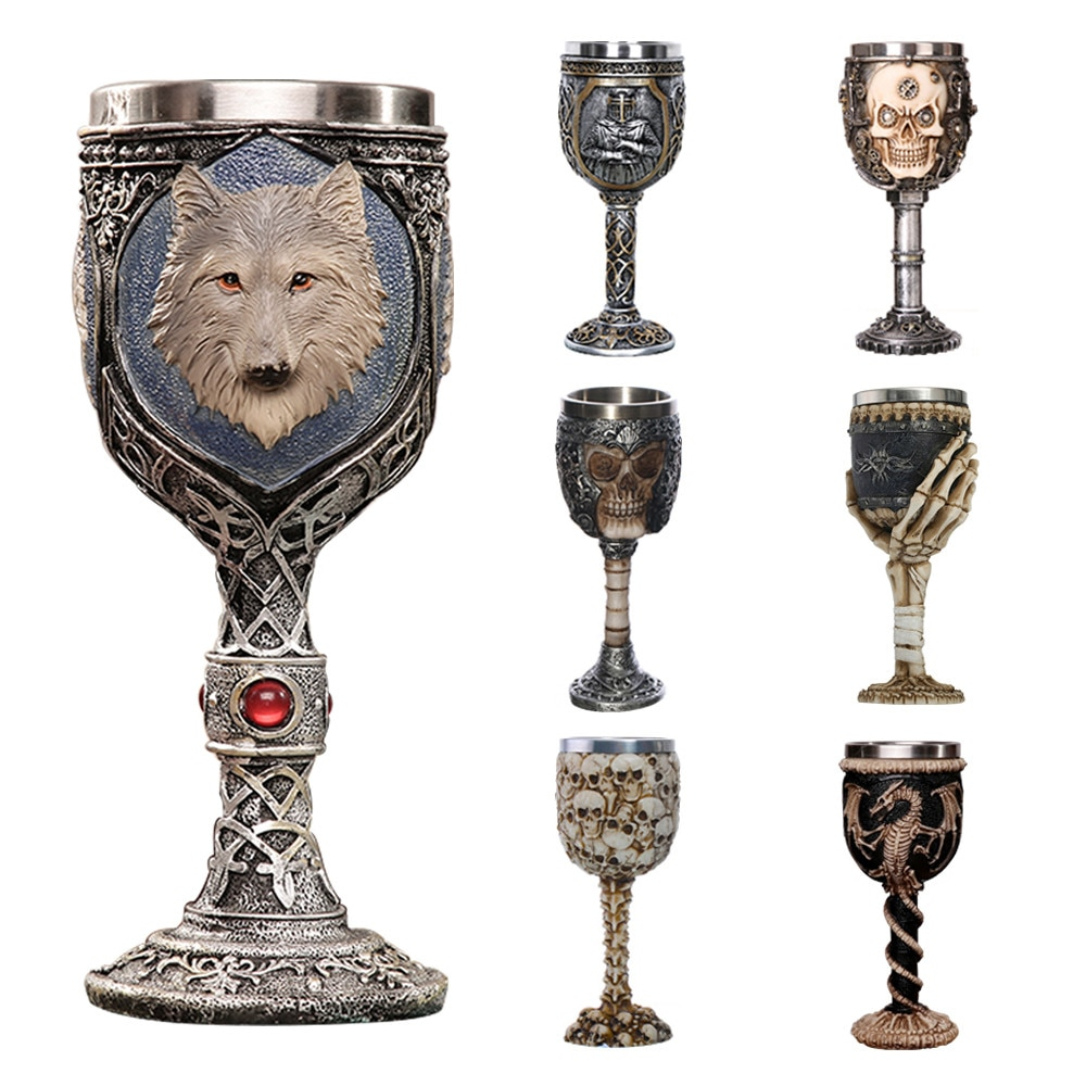 Gobelet 3d pour crâne de loup 200ml   Tasse de bière Cool en acier inoxydable, cadeau pour hommes, tasse originale personnalisée pour Halloween