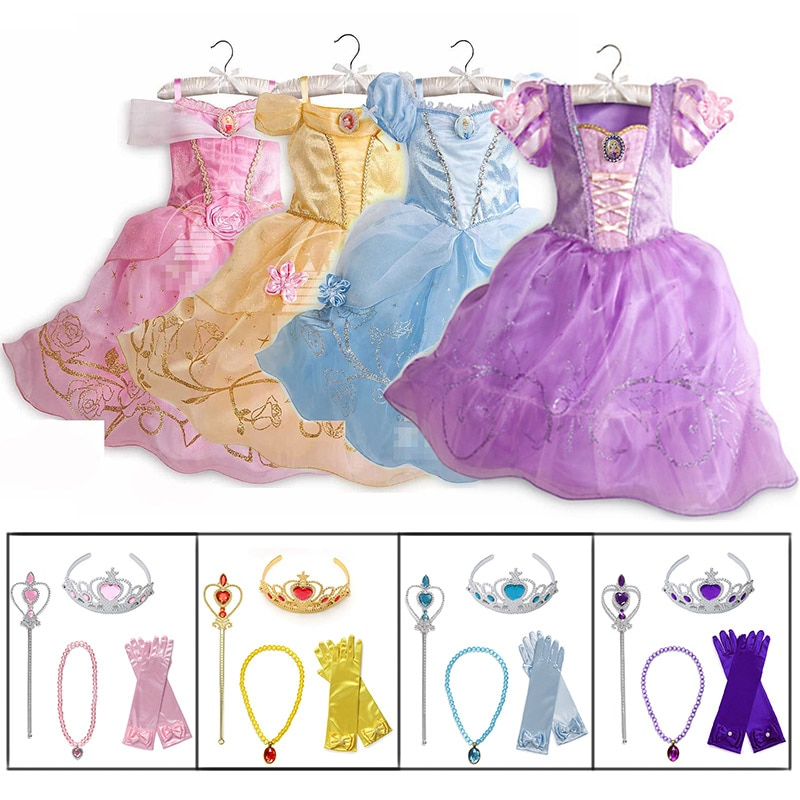 Little Girls Princess Rapunzel Cinderella Sleeping Beauty Belle Dress up Costume with Accessories Kids Elsa Anna Jasmine Cosplay