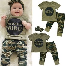 0-24M Pudcoco 2Pcs Newborn Baby Boy Girls Camo Short Sleeve T-shirt Tops Pants Outfits Clothes