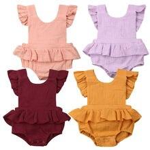 Nueva llegada recién nacido bebé niñas volantes algodón sólido Romper una pieza mono trajes ropa de verano 0-24 M