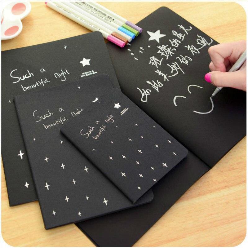 Черная бумага 16K 32K 56K Sketchbook Bullet Notebook Journal Cute Paper Weekly аксессуары для планировщика канцелярский дневник повестки дня 01630