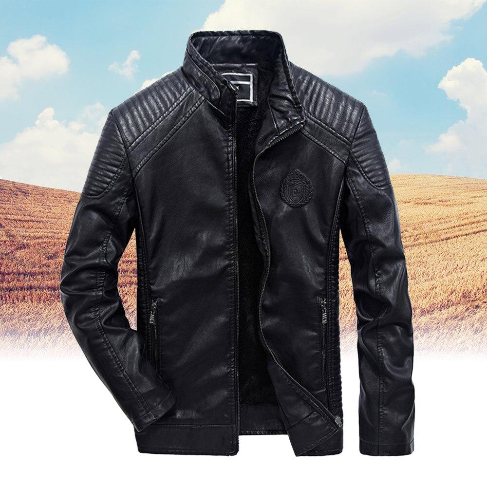 Мужская кожаная куртка из ПУ кожи теплая Толстая мотоциклетная куртка Куртки   