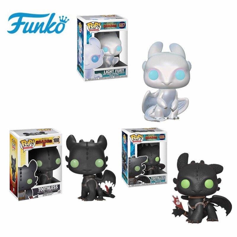 Funko POP sin dientes cómo entrenar a tus dragones #686 #100 desdentado furia nocturna juguete Light Fury coleccionable MODELO DE figura de acción de juguete
