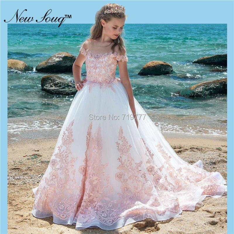 Nuevos vestidos de noche para desfile de niños, vestidos de niña con apliques Rosas y flores para bodas, vestidos de primera comunión blancos para niñas 2019