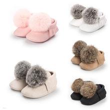 Pudcoco AU Baby Girl Hair Ball Crib Winter Shoes Infant Newborn Crib Shoes 0-18M