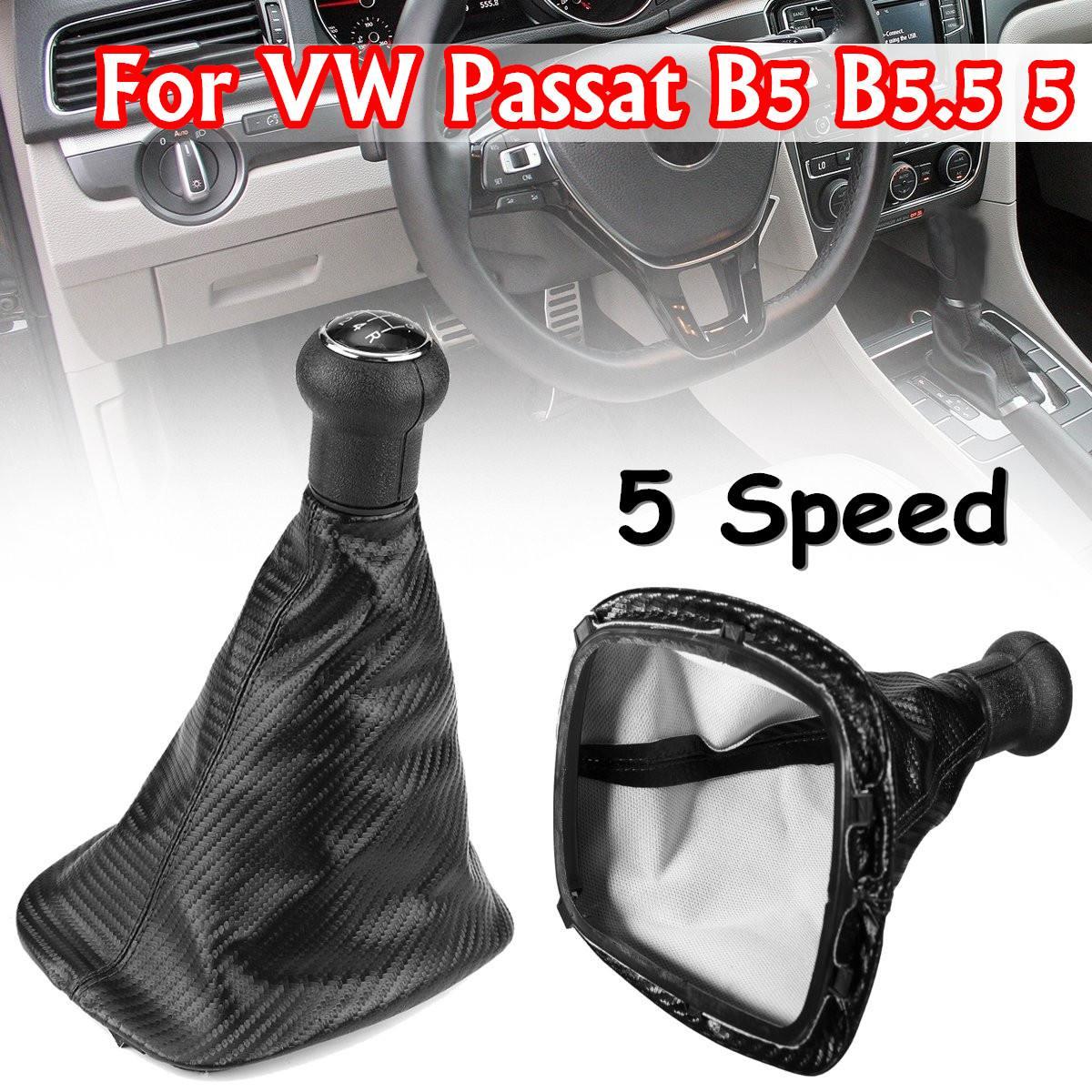 Pomo de cambio de marchas de fibra de carbono de 5 velocidades para VW Passat B5 B5.5 Bora Golf