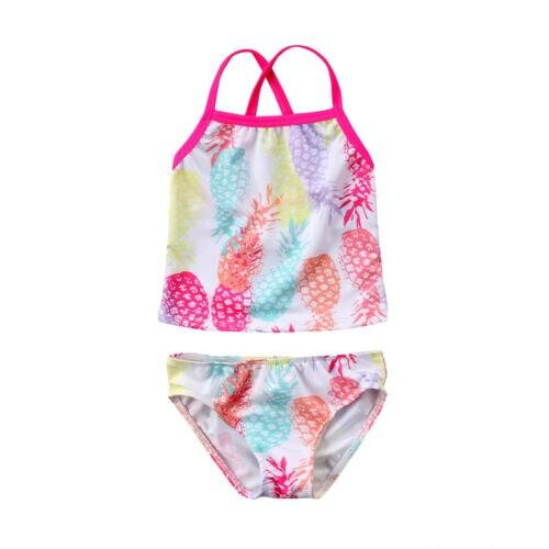 New Baby Kids Meninas Abacaxi Pequeno Nadador Banhista Swimwear Piscina Praia Verão Ternos Two-Piece