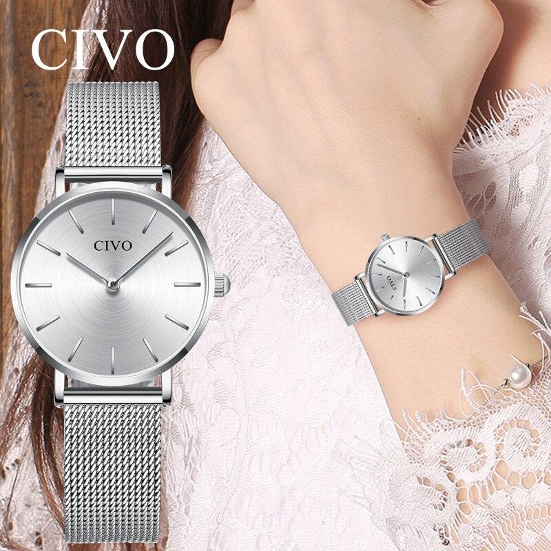 Reloj para mujer CIVO Bayan Kol Saati moda oro rosa plata lujo reloj mujer saat reloj zegarek damski