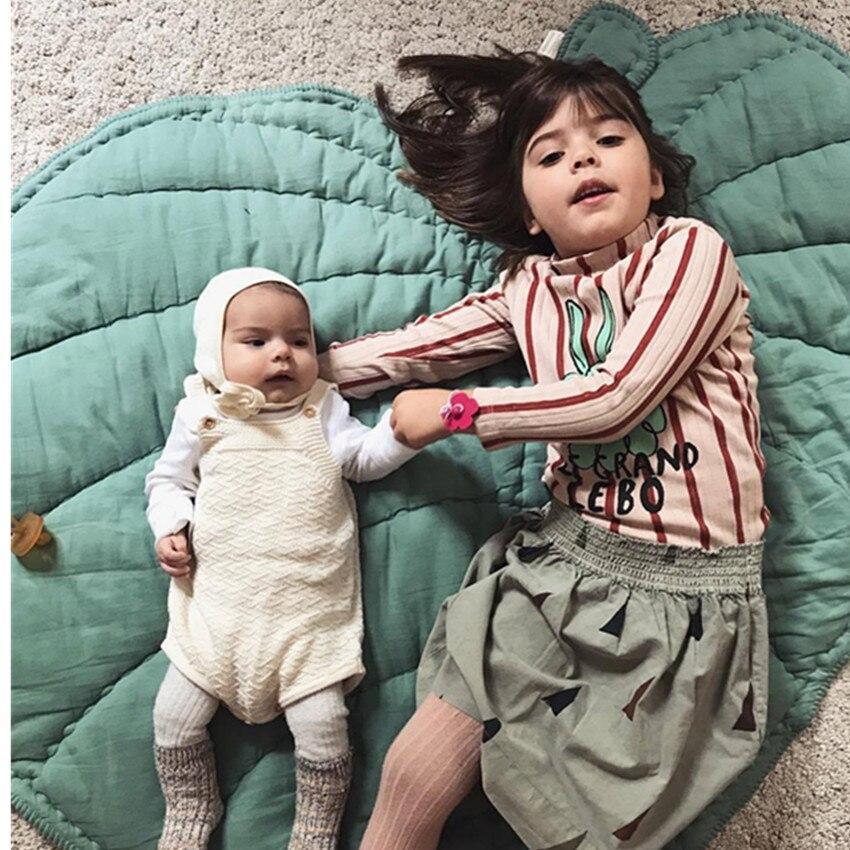 1 قطعة القطن لينة الطفل الاطفال لعبة حصيرة ل معيشة و غرفة نوم البساط 110 سنتيمتر أوراق شكل السجاد