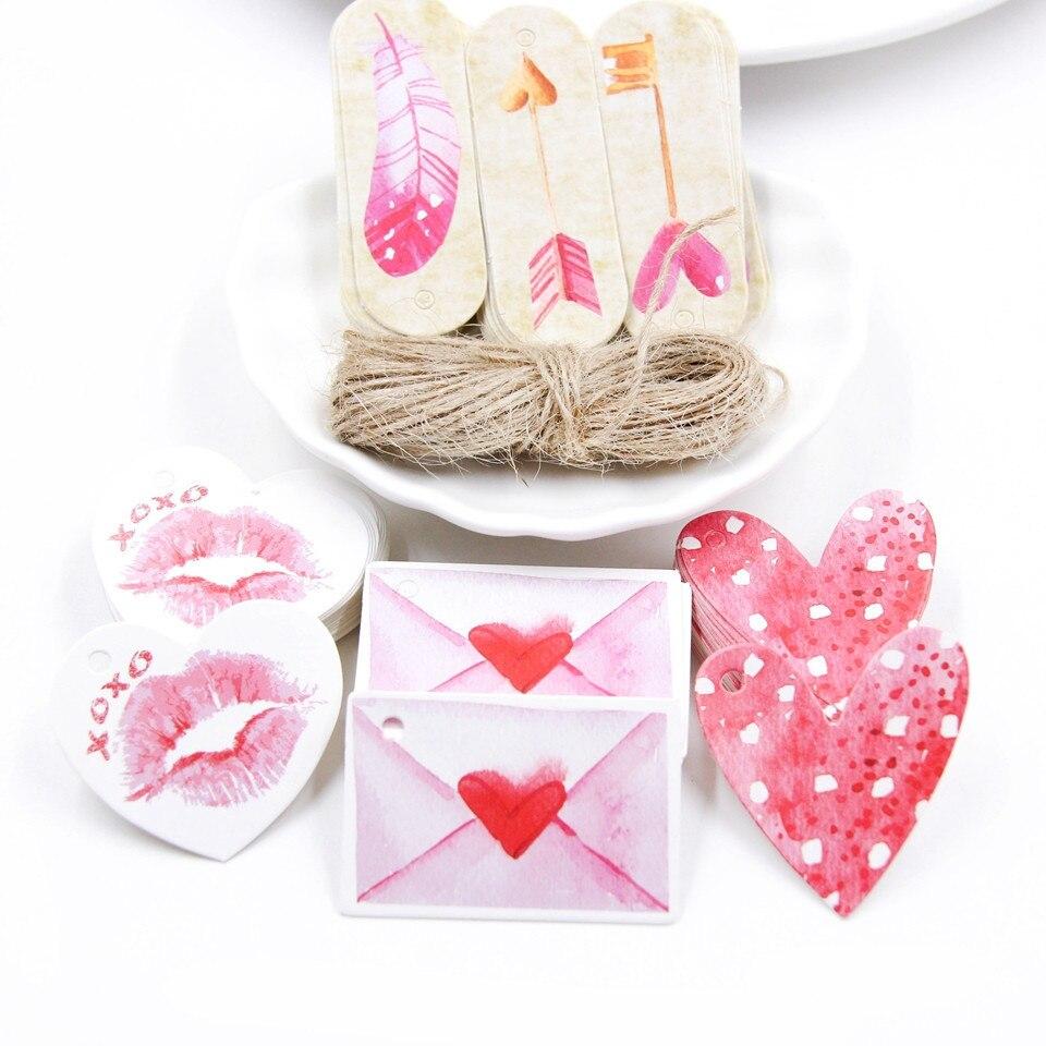 50 unids/lote etiquetas de papel con cuerda de cáñamo boda Día de San Valentín paquete DIY decoraciones de fiesta etiqueta colgante envoltura de regalos suministros