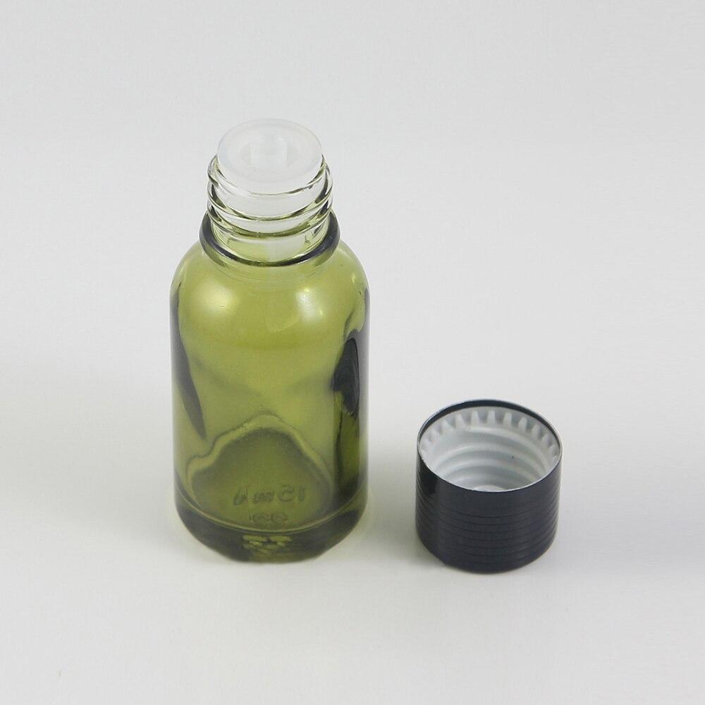Botella de aceite esencial pequeña de 15ml con tapa tipo gotero de aluminio de producción China