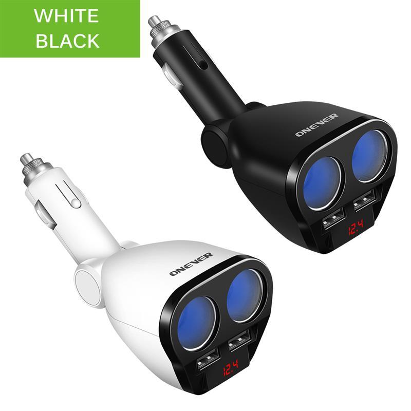 1 zu 2 120W 12 V-24 V Auto Zigarette Leichter Buchse Splitter Hub Power Adapter Mit Dual USB Ladegerät Auto Kits Weiß/Schwarz