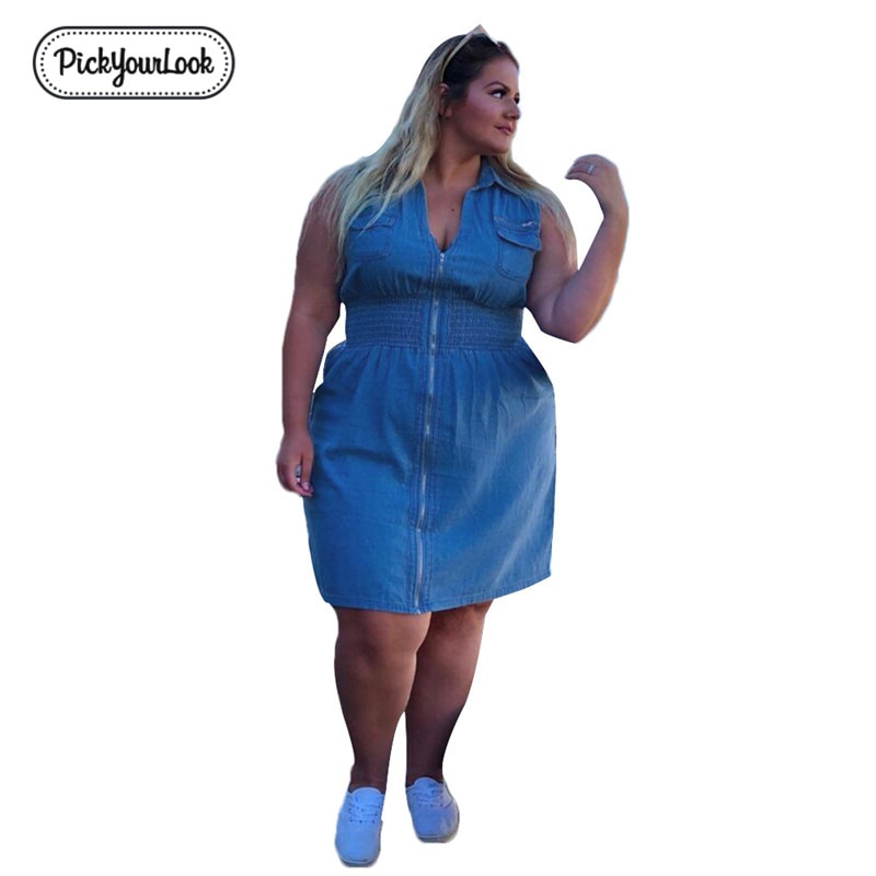 Pickyourlook Denim Women Dress Plus Size Summer Sleeveless Fashion Blue Female Mini Dress Zipper Pocket V Neck Large Lady Dress
