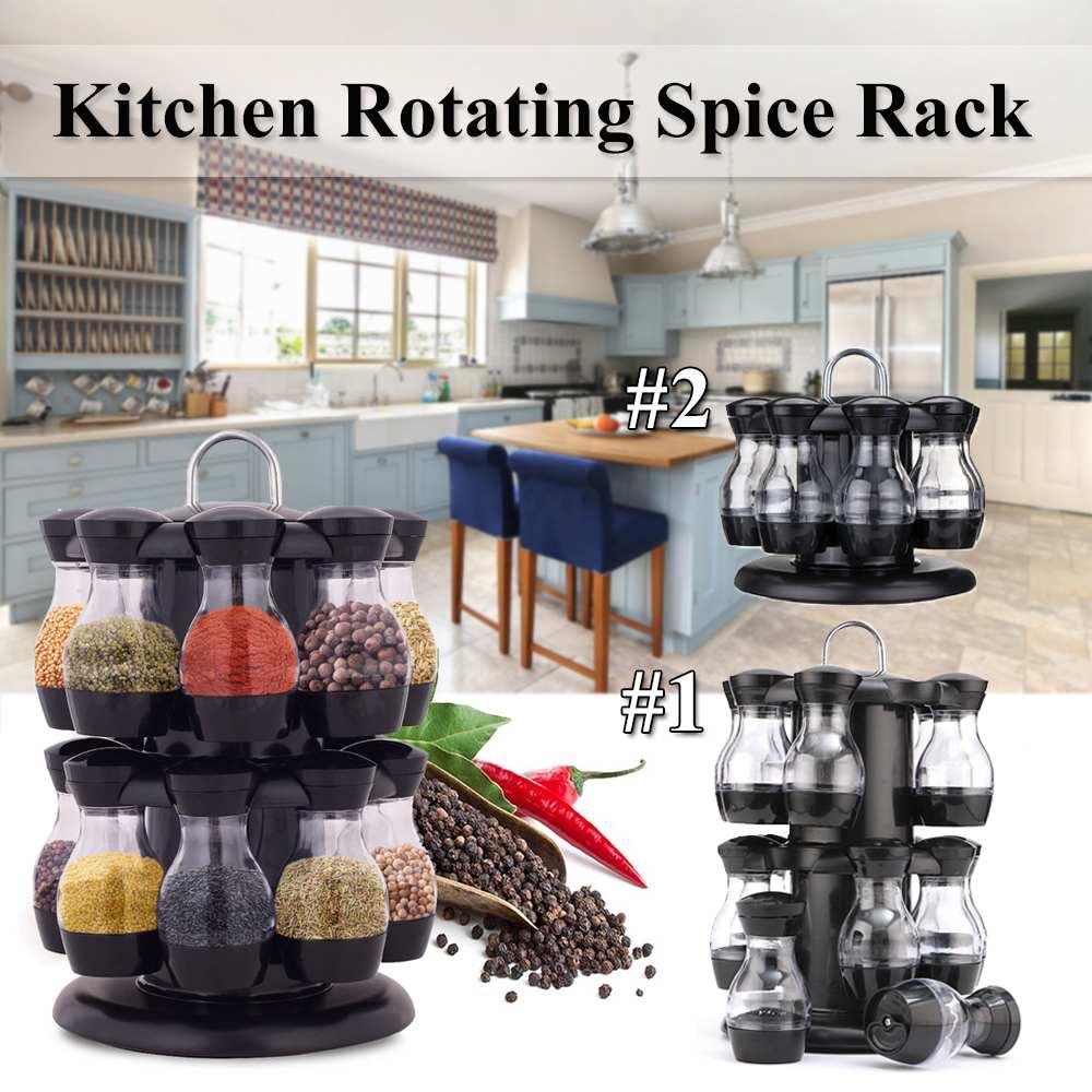 8/16Pcs Condiment Set 360 Rotating Spice Jar Rack Kitchen Cruet Condiment Bottle Coffee Sugar Seal Jar Container Castor