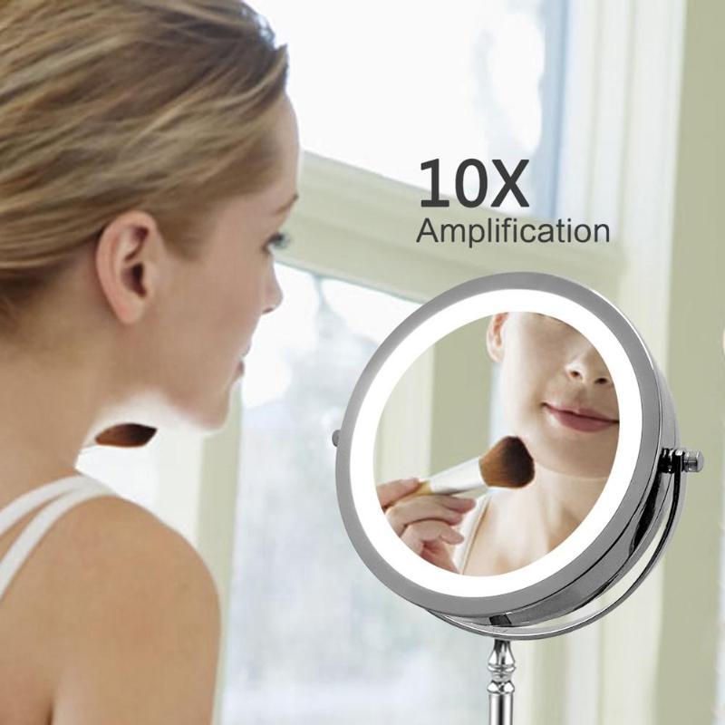 Espejo de maquillaje LED Profesional espejo cosmético 7 pulgadas 10x aumento doble cara 360 grados espejo de maquillaje giratorio