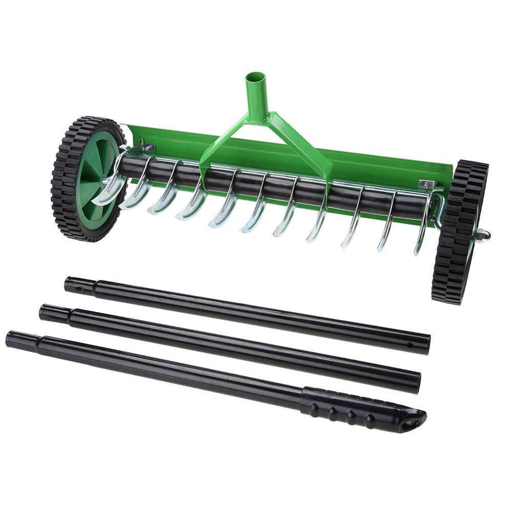Outdoor Garden Lawn Aerator with Long Handle Spike Type Heavy Duty Steel Grass Roller