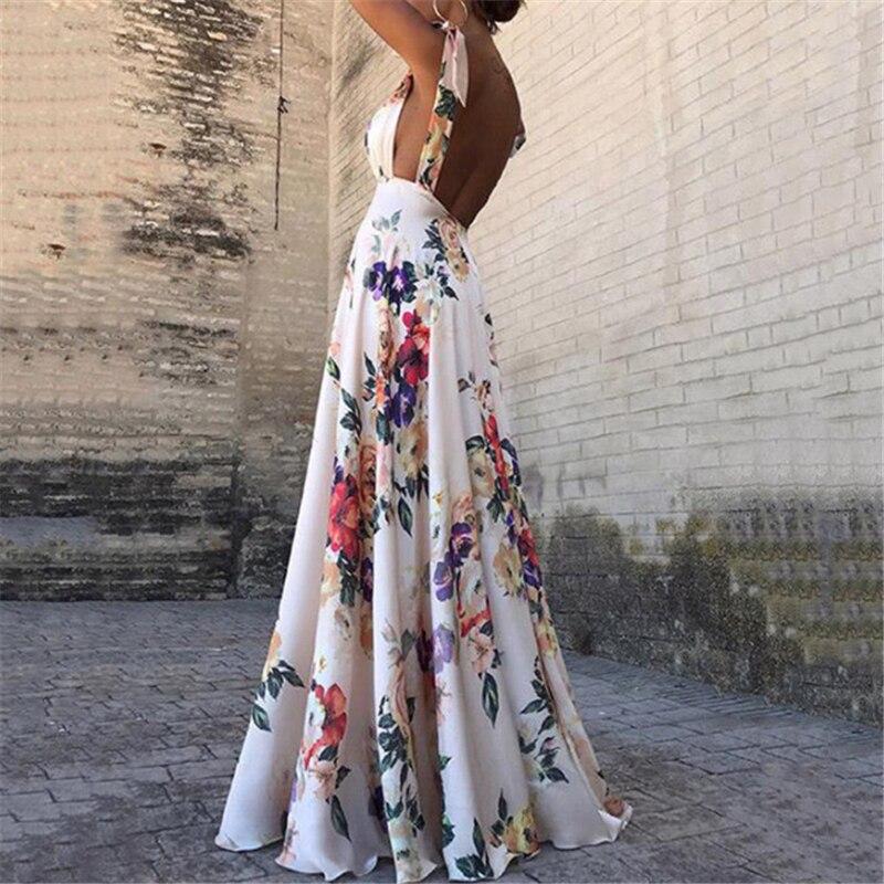 Женское платье без рукавов с цветочным принтом, винтажное длинное коктейльное платье с v-образным вырезом и открытой спиной, повседневное свободное пляжное розовое платье, лето 2019
