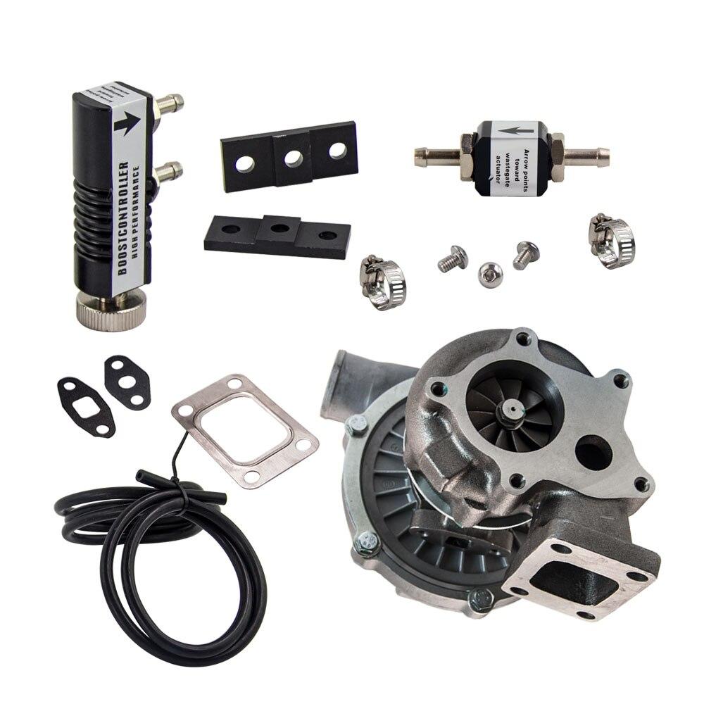 Turbocompresor turbo Universal T3T4 T04E T3 T4 A/R .63 turbina 5 perno de brida 30 PSI controlador de impulso 1-30 PSI