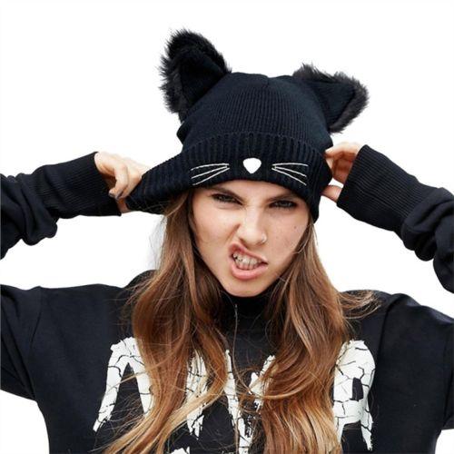 2019 nueva moda mujeres Oreja de Gato cálido tejido para invierno gorro de ganchillo de punto trenzado de esquí gorra de lana