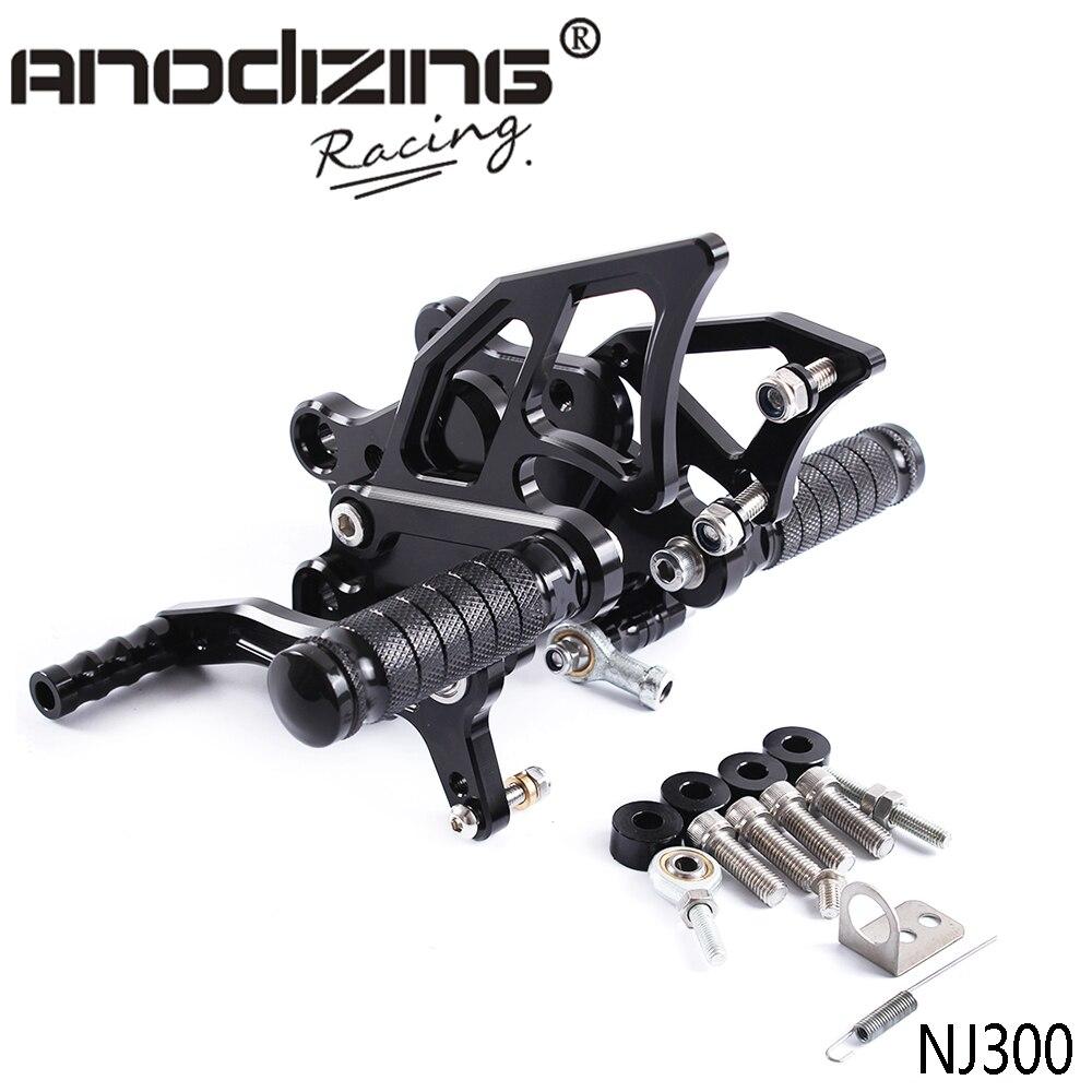 أطقم مؤخرة قابلة للضبط للدراجة النارية من الألمونيوم بتحكم رقمي كامل أطقم خلفية للقدمين مناسبة لدراجة كاواساكي NINJA300 نينجا 300 NINJA300R 2013-2017