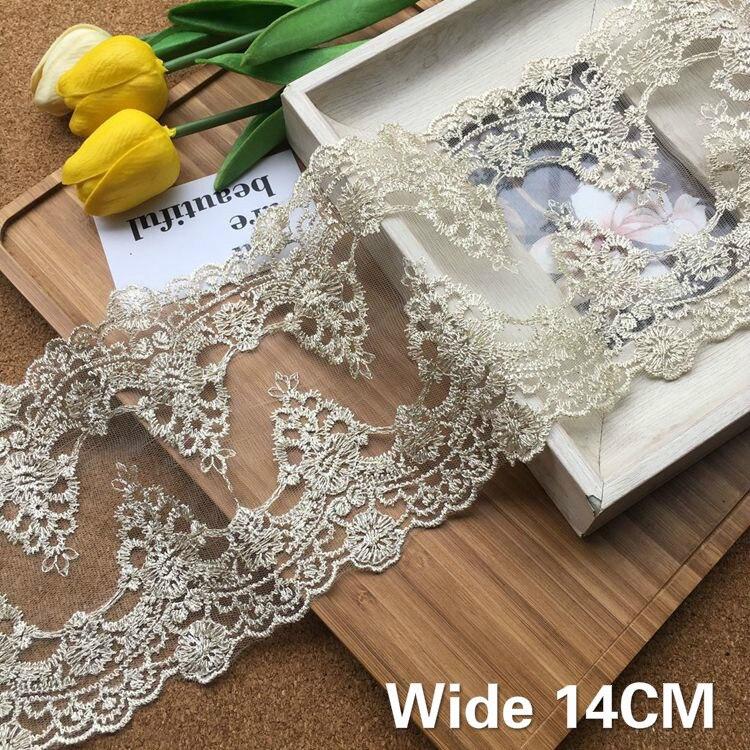 Tela de encaje guipur de alta calidad de 14CM de ancho, lazos bordados dorados, accesorios de costura para decoración para vestido de boda