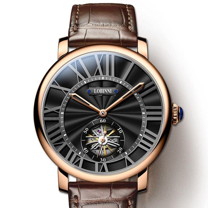 سويسرا العلامة التجارية الجديدة الفاخرة LOBINNI ساعة الرجال الساعات الميكانيكية الياقوت 50 متر مقاوم للماء relogio الهيكل العظمي ساعة L16016-4