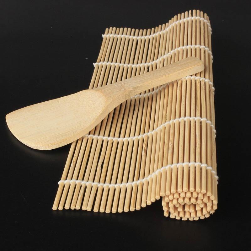 1Pcs Sushi Curtain Rolling Mat Sushi Spoon DIY Onigiri Rice Roller Kitchen Gadgets Cooking Accessori