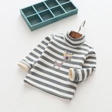 Girls Long Sleeves Shirt Fashion Stripe Plus Velvet Blouse Toddler Baby Deer Print Turtleneck Tops 3 4 5 6 7 Y Girls Clothing