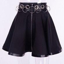 Jupes gothiques femmes été Sexy noir fer anneau femme Mini jupe filles Club Punk Rock Goth une ligne jupe