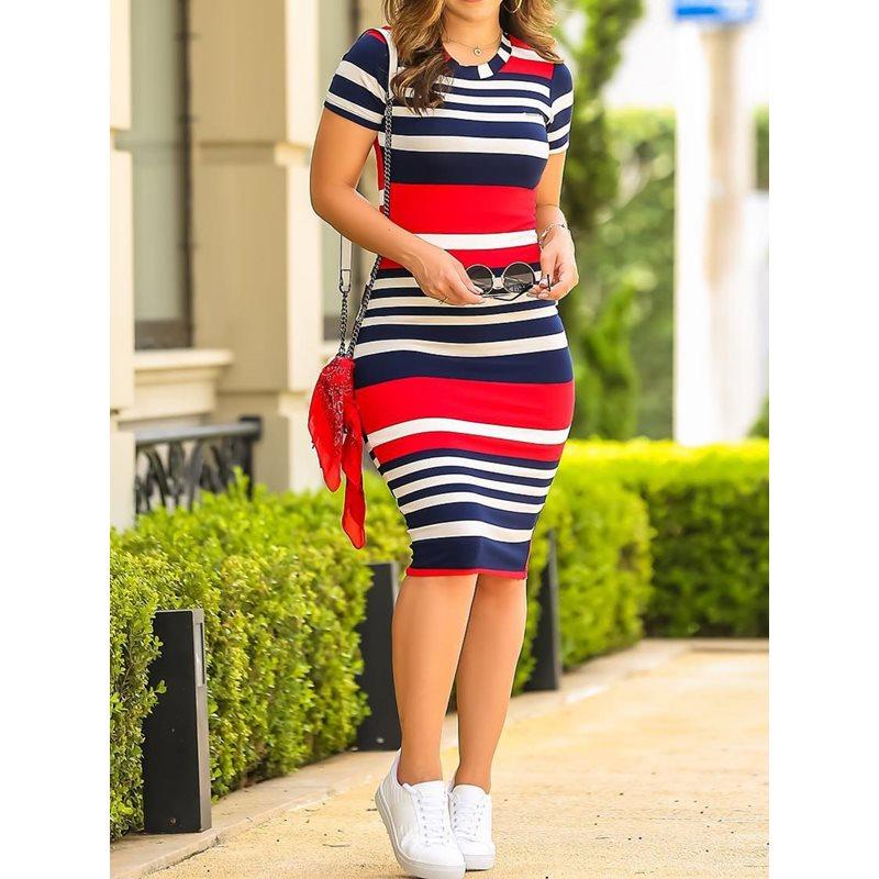 Vestido ajustado Sexy para mujer, ajustado, de Color, con estampado de rayas, moda elegante, verano 2019, nuevo estilo coreano, vestidos casuales para chicas de escuela de calle