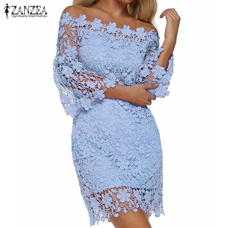 ZANZEA 2021 Women Mini Dress Summer Sexy Lace Solid Off Shoulder Slash Neck Flare Sleeve Party Dress