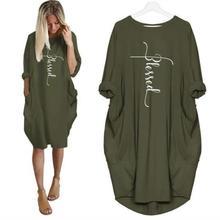 New Arrival Blessed Letters Print Pocket T-Shirt For Women Tops Plus Size Tshirt T-Shirt Female Punk Tumblr Femme Cactus Wonder