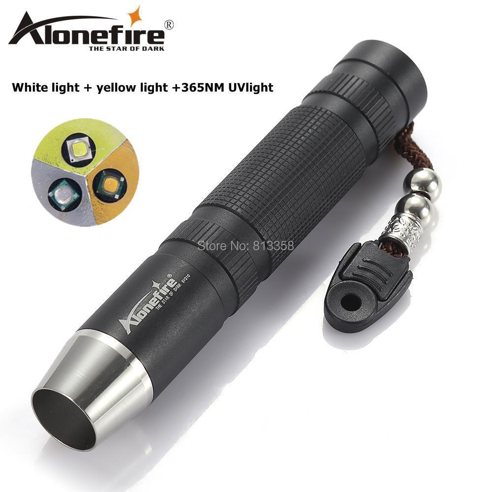 AloneFire SV310 5W CREE LED blanco UV amarillo LED luz gema ámbar Jade joyería linterna antorcha