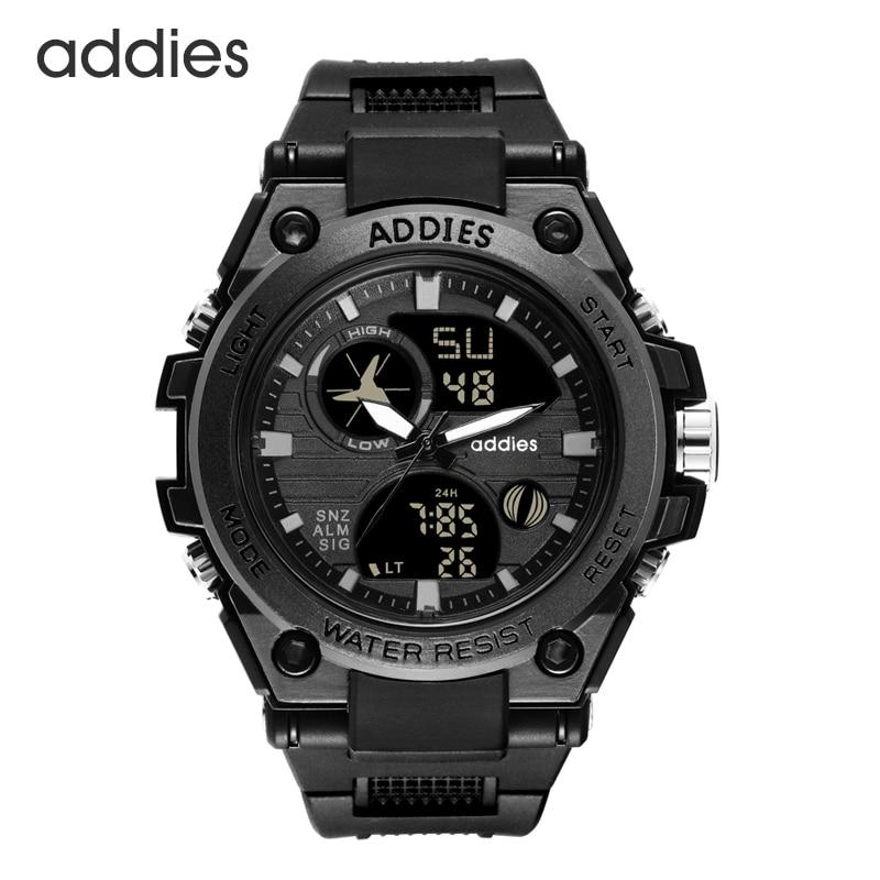 Men Military Digital Sports Watch Tactical Waterproof Outdoor LED Backlight Alarm Multi Function Big Analog Quartz Dual Display