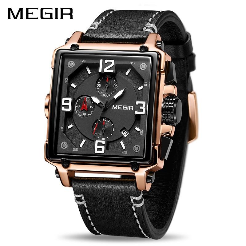 MEGIR-ساعة كوارتز كرونوغراف إبداعية للرجال ، ساعة يد رجالية ، رياضية ، عسكرية ، جلد ، Saat