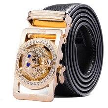 Cinturón de piel auténtica de lobo para hombre, cinturón de aleación de diamantes de imitación de policromo, hebilla automática, marca de lujo negra, de talla grande