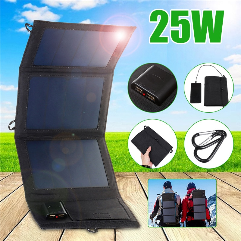Cargador de células solares plegables a prueba de agua de 25W, 5V 2A, dispositivos de salida USB Dual, paneles solares portátiles para teléfonos inteligentes