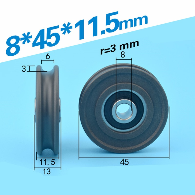 [U0845-11.5] شحن مجاني 10 قطعة غير قياسي 628ZZ المغطاة البلاستيك تحمل النايلون الأسطوانة عجلة لنافذة الباب 8*45*11.5 مللي متر