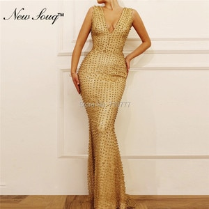 Gold V Neck Evening Dresses 2019 Arabic Beaded Party Gowns Mermaid Abendkleider Prom Dress Robe de Soiree Formal Party Gowns New