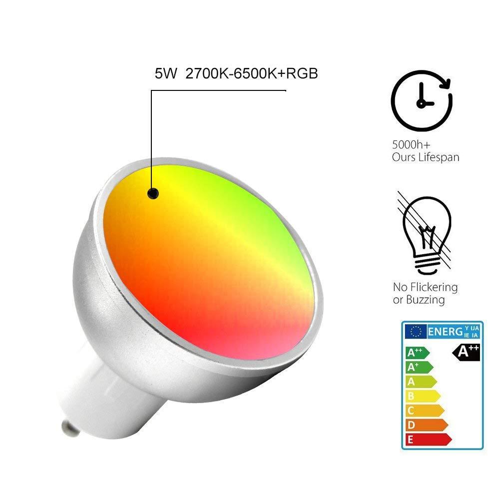 GU10 WiFi lumière de LED intelligente ampoules lampe 5 w RBGW coloré Dimmable lumière sans fil éclairage APP contrôle travail avec Alexa et Google Home