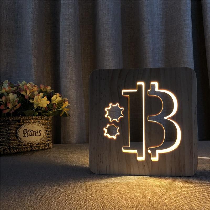 Led الخشب ضوء مصباح Usb ليلة ضوء بيتكوين نمط ثلاثية الأبعاد lumaria الطفل مصباح هدايا عيد للأطفال غرفة نوم ديكور ضوء الليل