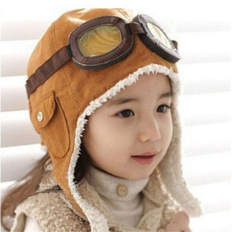 Winter Warm Baby Peuter Jongens Meisjes Kids Pilot Aviator Hoeden Unisex Verstelbare Effen Kleur Cap Hoed Beanie Bruin Zwart