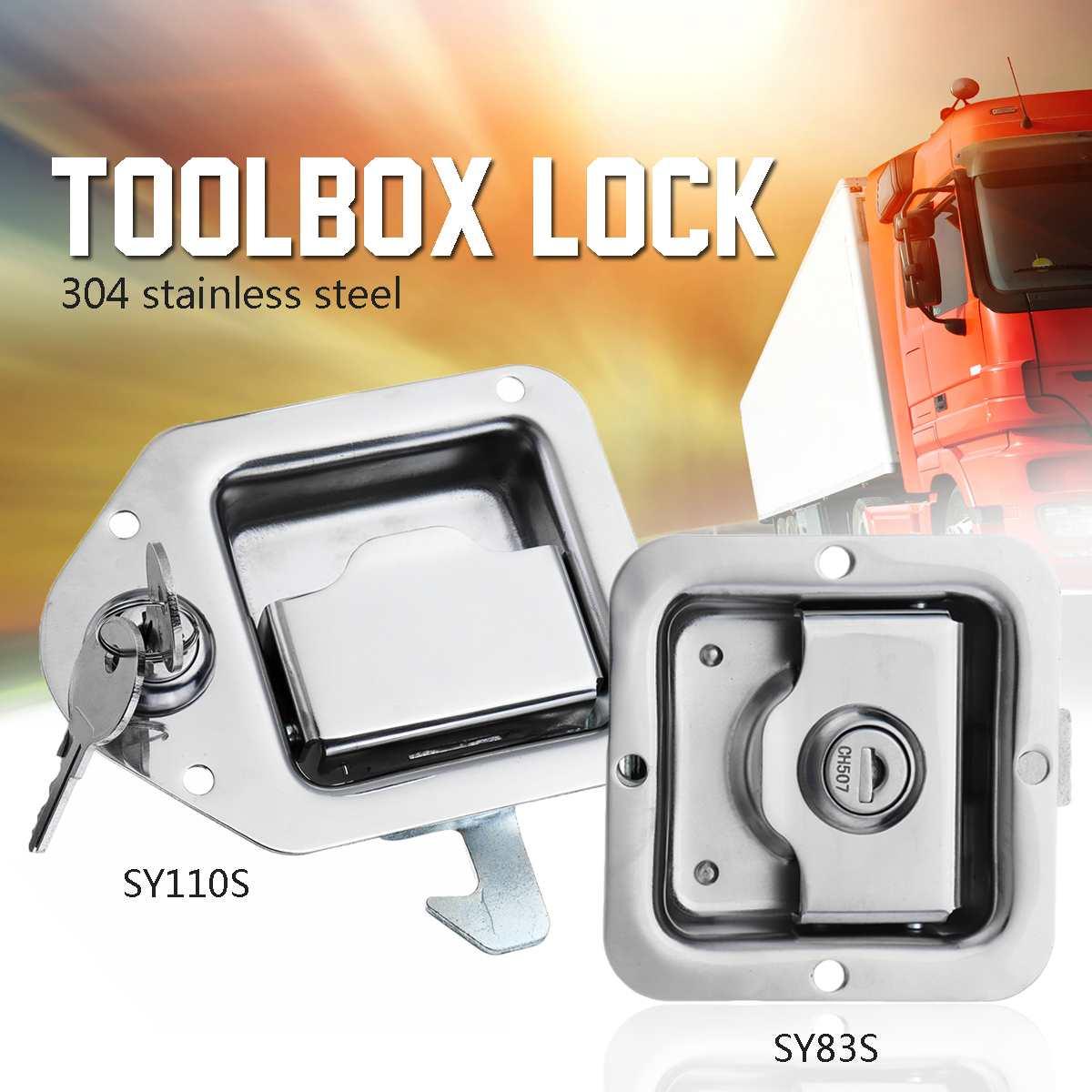 304 нержавеющая сталь грузовик RV Toolbox замок трейлер дверная ручка защелка весло серебро толстый замок язык антикоррозийная обработка 2 клави...