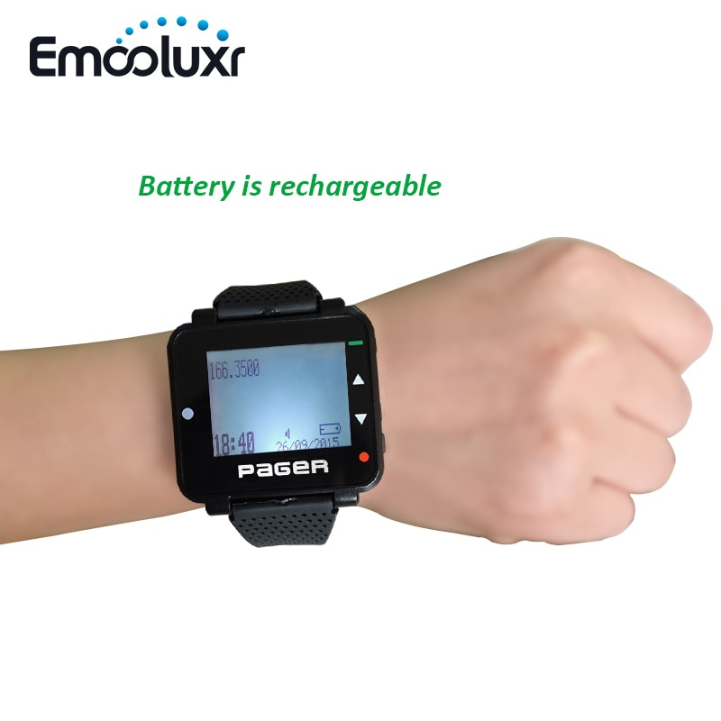 Wholesales 50pcs POCSAG Pager Text Message Paging Receiver Hand/PC Programmable Watch Pager with Rechargeable Battery enlarge