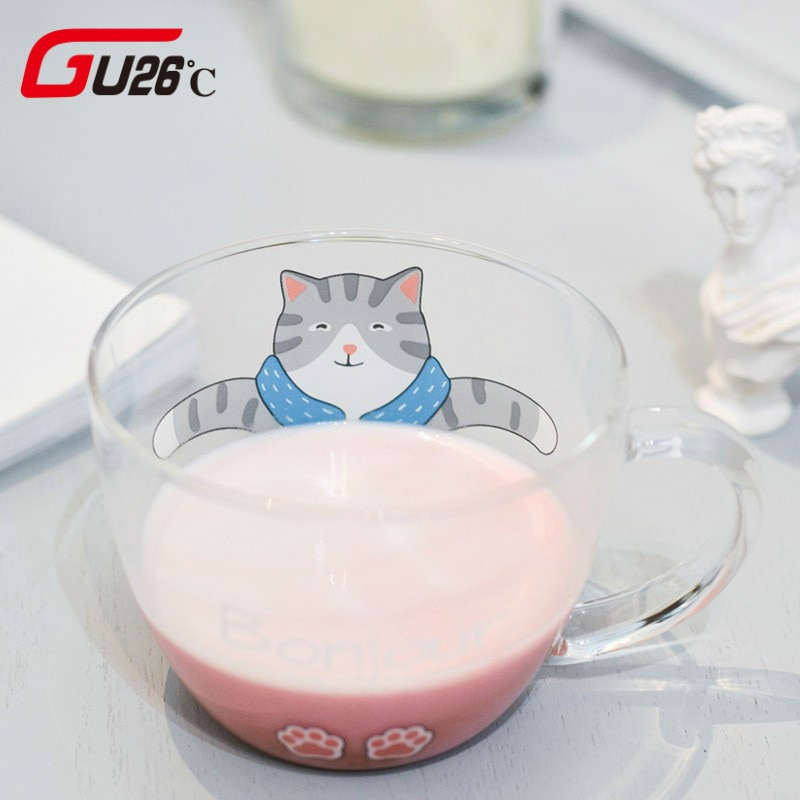 Novedosa taza de cristal de 350 ml, taza creativa de cristal de alta calidad de gato y perro adorable, taza de café de leche y té con asa para viaje