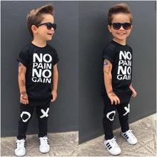 Pudcoco Junge Kleidung 1Y-6Y Kleinkind Kinder Baby Junge Outfits Kleidung No pain no gain T-shirt Top + Hosen 2 stücke set